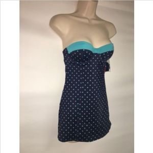 ddb0200939 SPANX Swim | Dresskini Top Size 10 Navy Splash Polka Nwt | Poshmark